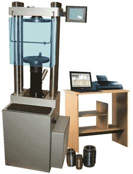 Машина для испытания на сжатие ИП-1А-1000 а/бетон с ПК (испытание бетона, изготовление а/б образцов)